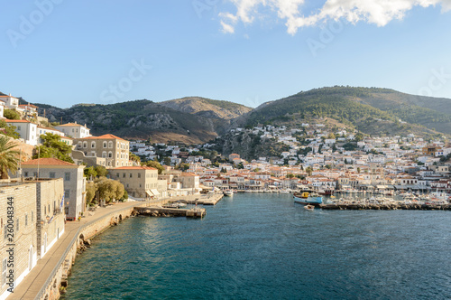 View of Hydra old town and port, Greece