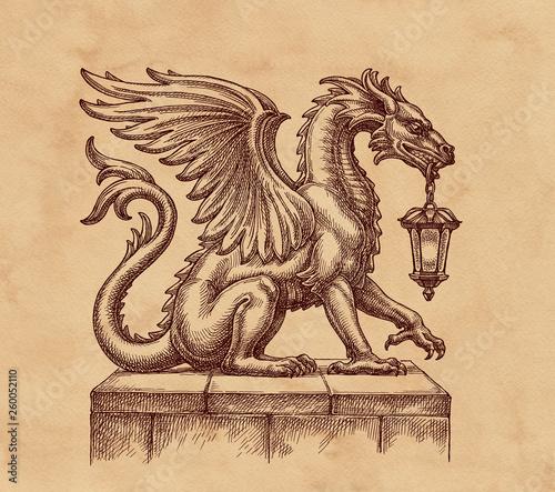 Hand drawn medieval dragon with lantern, retro style.