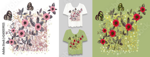 Stylish, designer print on t-shirt. Abstract, floral arrangement with graphic elements and grunge. Creative, original, watercolor illustration. Fashionable youth clothing. Print, cover. Flowers. - 260059925