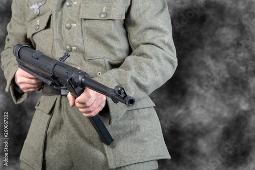 Second world war German soldier with a machine gun © Philipimage