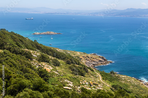 Cies Islands, Spain. View of the coast of the mainland from the archipelago