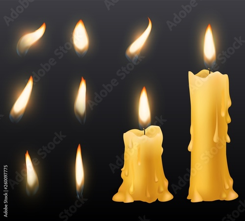 Burning candles. Romantic holiday wax burning candles light close up warm fire wick spa christmas dinner decoration birthday vector set © Olga