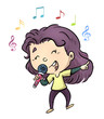 Leinwanddruck Bild - niña cantando con microfono
