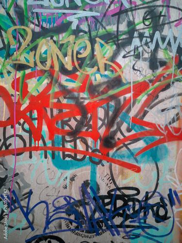 abstract graffiti urban art on street wall  - 260104567