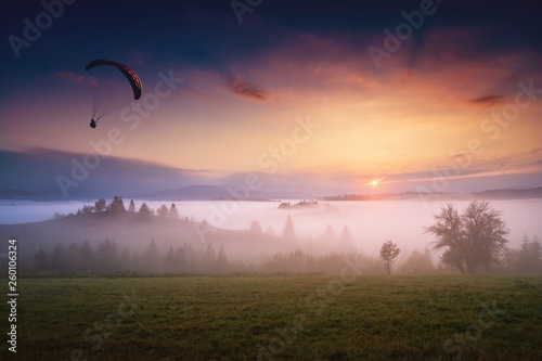 Parachutist silhouette gliding in the morning sky © Bashkatov