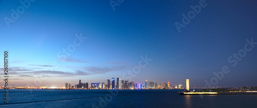 Evening Skyline of Doha, Qatar.  - 260107100