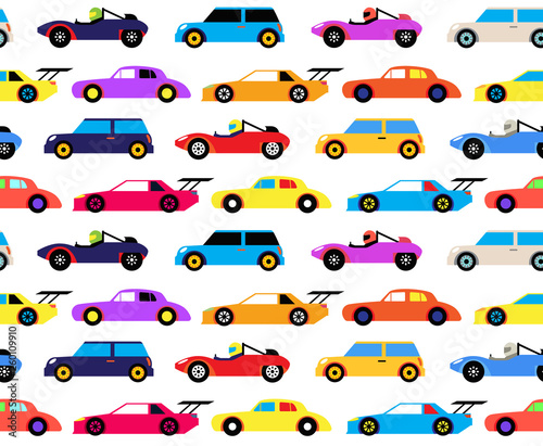 fototapeta na ścianę Racing cars seamless pattern