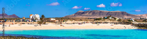 best beaches of Fueteventura - beautiful La Concha in El Cotillo.Canary islands - 260112310