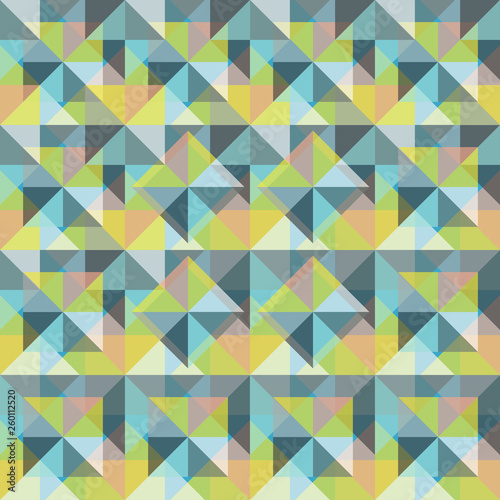 fototapeta na ścianę Triangle Seamless Background with Triangle Shapes of Different colors. Textile, Fabric, Paper, Wallpaper Print Template Magazine, Leaflet, Booklet. Template for Your Design