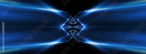 Abstract blue background with lines and rays of neon light. Reflection in space of symmetry. Abstract tunnel in motion. - 260118599