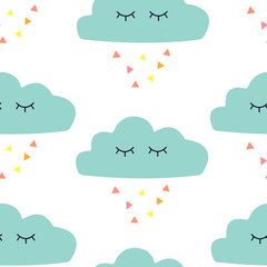 Seamless pattern with graphic cartoon clouds. Childish poster with cute character. © Anastasiia Komarova