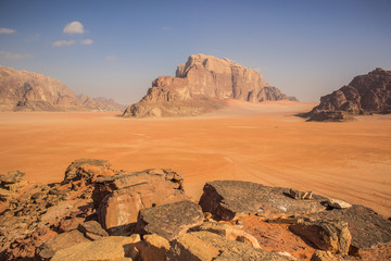 Wadi Rum Jordanian Middle East desert picturesque scenery landscape photography from high steep rock cliff