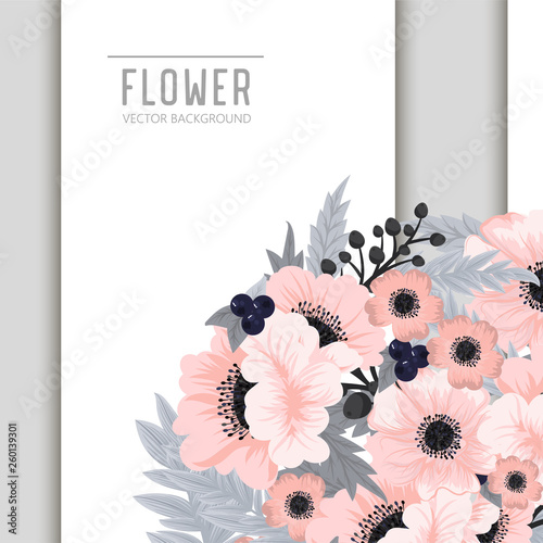 Flowers greeting card template. Vector frame. - 260139301