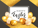 Black Lettering Happy Easter on White Card and Golden Eggs