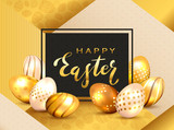 Golden Lettering Happy Easter on Black Card and Eggs on Gold Background