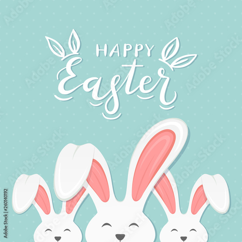 Blue Background with Text Happy Easter and Bunny Ears