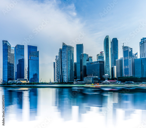Singapore cityscape with water reflection at Marina bay
