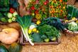 canvas print picture - Gemüse und Obst, frisch, gesund, aus biologischem Anbau vom Erzeuger.  So macht das Kochen und Essen Spaß, gesunde, vitaminreiche Produkte frisch aus dem Garten in Holzkisten und Körben präsentiert.