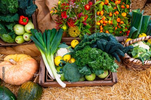 canvas print picture Gemüse und Obst, frisch, gesund, aus biologischem Anbau vom Erzeuger.  So macht das Kochen und Essen Spaß, gesunde, vitaminreiche Produkte frisch aus dem Garten in Holzkisten und Körben präsentiert.