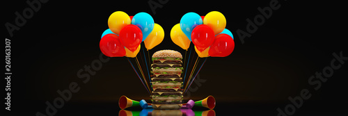hamburger. 3d rendering - 260163307