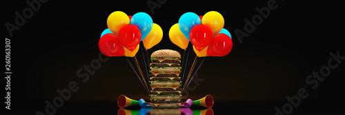 hamburger. 3d rendering - 260163307