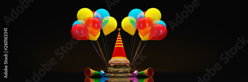Hamburgers with party hat. 3d rendering - 260163341