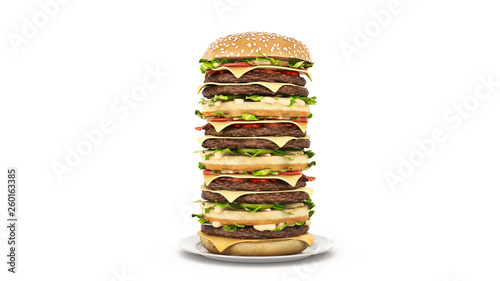 Leinwanddruck Bild hamburger tower. 3d rendering