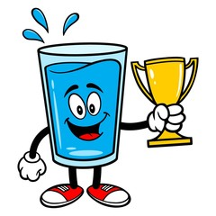 Glass of Water Mascot with a Trophy - A vector cartoon illustration of a glass of Water mascot holding a Trophy.