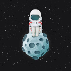 Depressed cartoon astronaut sitting on the Moon with space and stars in the background. Mental health problem and loneliness illustration. Vector.