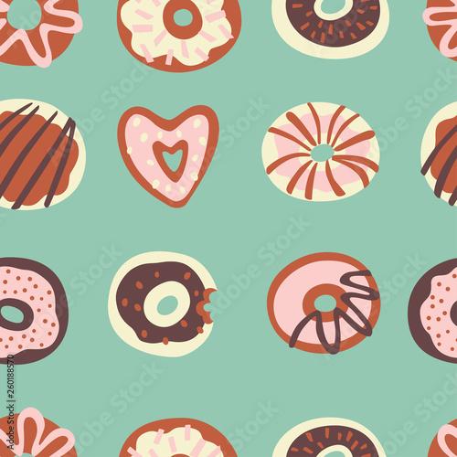 fototapeta na ścianę Seamless Pattern with Doodle Sweet Food. Hand Drawn Vector Illustration.
