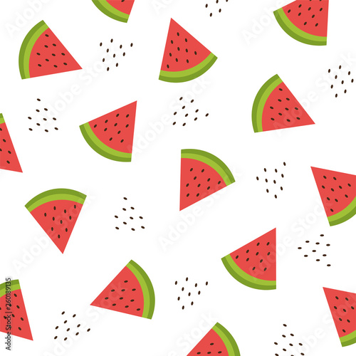 Seamless pattern with watermelon slices. Vector illustration. Summer watermelon background. - 260189135