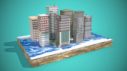 Modern city concept. 3d illustration