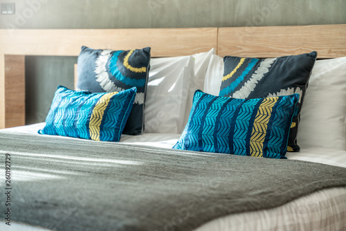 beautiful pillow on the bed in the bedroom © Stock PK