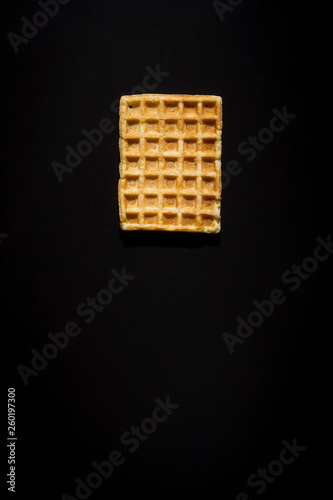 Waffles on a black background