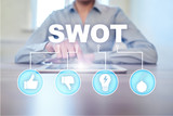 swot analysis concept  - a study by an organization to identify its internal strengths, weaknesses, as well as its external opportunities and threats.
