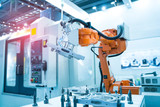 robot arm is working smartly in the production department in artificial intelligence factory