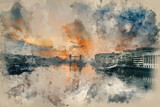 Watercolour painting of Beautiful Autumn Fall  dawn sunrise over River Thames and Tower Bridge in London
