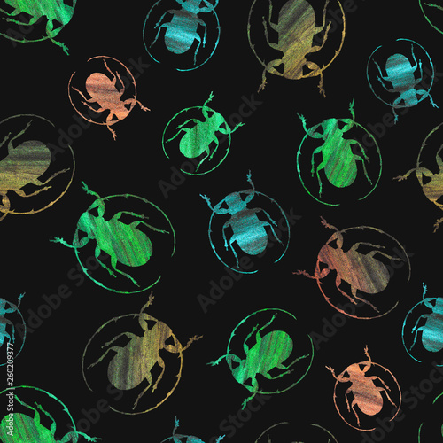 insect with abstract texture of different green and brown colors on a dark background - 260209377
