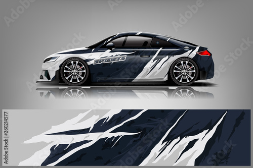 Car decal wrap design vector. Graphic abstract stripe racing background kit designs for vehicle, race car, rally, adventure and livery - Vector - 260214577