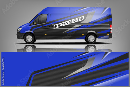 Van wrap design. Wrap, sticker and decal design for company. abstract background with vector..Vector format - Vector