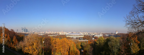 Panoramic view of central Moscow from Sparrow Hills or Vorobyovy Gory observation (viewing) platform-- is on a steep bank 85 m above the Moskva river, or 200 m above sea level. Moscow, Russia - 260221145