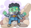 cartoon, scary, monster frankenstein, funny cute illustration - 260236730