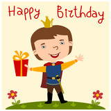 Happy birthday card - funny Prince in cartoon style with gift in hand