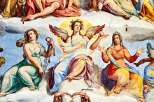 """Постер, картина, фотообои """"the Last Judgment fresco painted 1572 by Giorgio Vasari in the dome of the cathedral of Florence, Italy"""""""