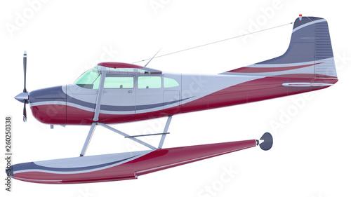 Leinwandbild Motiv Retro seaplane illustration. 3D render