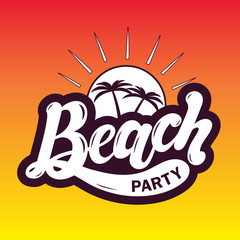 Beach party. Hand drawn lettering