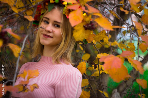 fototapeta na ścianę Girl in a wreath of autumn leaves In the bushes