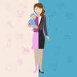 Businesswoman and mother, career and motherhood divided.