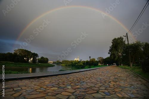 summer landscape with a rainbow © kichigin19