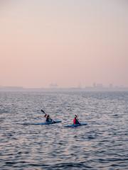Two girls kayaking